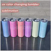 Changement de couleur UV la moins chère Changement de tumle de sublimation de sublimation de sublimation Soleil Soleil Solding Tumbler Droite avec couvercle WS