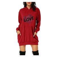 Повседневные платья 2021 Мода Женщины Платье День Святого Валентина Письмо Печать Sukienka Капюшонные карманы Короткая футболка Femme Четыре сезона Q # T2G