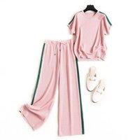 Conjunto de ropa de salón de las mujeres Verano 2021 Manga corta Color Bloque a rayas Tops de punto Pulloters Pantalones de pierna ancha de dos piezas Vestido rosa