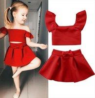Newborn Kids Baby Girls Off Shoulder T Shirt Tops Mini Skirt Outfits Red Pleated Set Summer 2pcs 1 4t