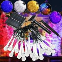 Cordas 480cm 20 LED energia solar pingo de chuva luz fada luz para decoração de festa de Natal gotas de água iluminação de férias
