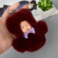 Съемки съемки Высокое качество Спящая Детская кукла Брелок Rex Hair Pompom Key Цепочка Пушистый Автомобильный Ключ Ключ Портировать Clef Bag Ring