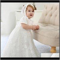 드레스 의류 아기 키즈 출산 드롭 배달 2021 태어난 된 christening 가운 소녀 024M 드레스 레이스 솔리드 백 스트랩 옷 아기 의상 위트