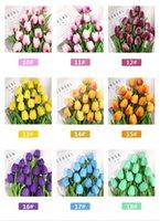 2021 Material PU Mini tulipán Pantalla Flower Toque Real No contaminante Flores artificiales Simulación Boda o Hogar decorativo 34 cm 18 colores