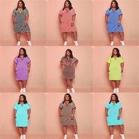 حجم كبير الصيف المرأة الصلبة بلون مخطط الخامس الرقبة اللباس الملابس السيدات الكاحل طول شيرت تنورة عارضة فساتين رياضية للنساء الفتيات G69JZ5I