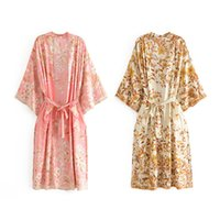 Frauen Blumendruck Böhmische lange Kimono Strickjacke Blusen Neue Schärpen Boho Tops Batwing Sleeve Casual Beach Urlaub Blusen Shirts