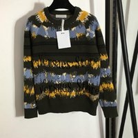 Women's Sweaters Luxury Design Classic Camouflage Contrast Pullover Temperament Round Neck Long Sleeve Knitted Sweater