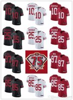 """75 남자 여성 청소년 산 """"Francisco""""49ers """"85 George Kittle 10 Jimmy Garoppolo 25 Richard Sherman 97 Nick Bosa Football Jersey"""