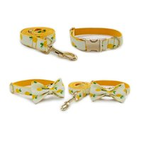 Dog Collars & Leashes Gold Metal Adjustable Buckles Bow Tie Collar For Small Big Labrador Pet Puppy Leash Name Necklace