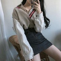 Two Piece Dress sets of women's pieces striped shirts with single-breasted neckline and sweater vest chic Korean style waistcoat ulzzins 1C21