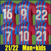 Barca Messi Futebol Jerseys 2021 Ansu Fati F.De Jong Kun Aguero Memphis Jersey Dest Coutinho Pedri Grisezmann Casa Camiseta Homem Kit Kit Camiseta Blaugrana 21/22