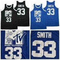 رجل سوف سميث # 33 كرة السلة الفانيلة موسيقى سوداء التلفزيون السنوي الصخري السنوي n'Jock B الكرة المربى 1991 قميص أزرق مخيط S-XXL