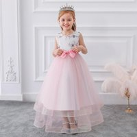 Girl's Dresses 2021 Flowers Formal Party Long Evening Dress Girl Kids For Girls Bow Princess Birthday Wedding 4 10 12 Years