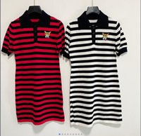 21 girls color matching striped square collar knit sweater short-sleeved dress embroidery cat age reduction 503