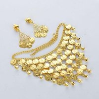 Earrings & Necklace 1 Set Tribal Belly Dance Jewelery Costume Beads Gold Coins Free