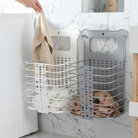 Laundry Bags Upgraded Plastic Dirty Basket Foldable Home Hamper Sturdy Handle With 2 No Drilling Hooks