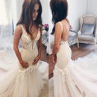 Vestidos De Novia Mermaid Wedding Gowns 2021 Sexy Deep V Neck Open Back Vintage Bridal Dress Court Train Lace Appliques Arabic Marriage Robes Plus Size AL9022