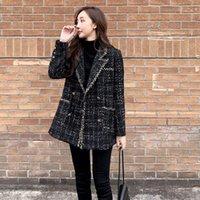 Jaquetas Mulheres Llzacoosh Chegada Mulheres Casaco de Tweed Femme 2021 Moda Pista de Rovo Outono Inverno Negro Collar Preto Borla Jaqueta Outwear