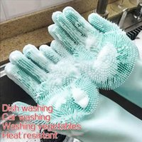 Dishwashing Cleaning Gloves Magic Silicone Rubber Dish washing Gloves for Household Scrubber Kitchen Clean Tool Scrub 1 Pair