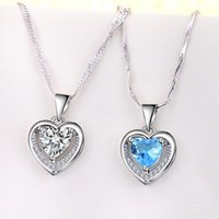 925 Sterling Silver Woman Fashion Jewelry High Quality Simple Crystal Zircon Heart Pendant Necklace Length 45CM