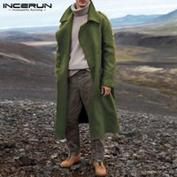 MAN Vintage Double Breasted Fleece Fleece Blends Incerun Mens Cappotti a maniche lunghe Trench Trench Winter Solid Colors OverCoats S-5XL 7 Lana da uomo