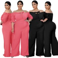 XL-4XL Plus Size Rompers Womens Jumpsuit Office Lady Slash Neck Half Sleeve Wide Leg Overall Elegant Off Shoulder Long Outfit