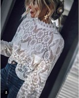 New design women's stand collar lantern style long sleeve perspective lace crochet floral loose plus size top blouse shirt