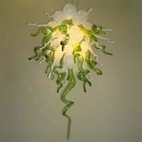 Art Deco Luxury Pendant Light W60xH80cm Lamp 100% Hand Made Murano Blown Glass Chandelier with Led Bulbs Hanging Lights for Home