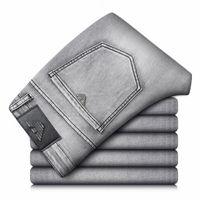 Männer Jeans Retro Frühling Herbst Baumwolle Slim Elastic Italy Eagle Marke Business Hosen Klassische Denim Männliche Hose