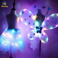 참신 LED 빛나는 소녀 나비 날개 빛나는 투투 스커트 요정 지팡이와 조명을 설정 공주 드레스 의상 선물 2-8T