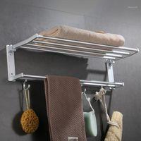 Serviette porte-serviettes murale montée en argent noir d'aluminium organisateur porte-salle de bain étagère pour accessoires équipement1