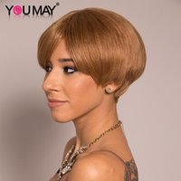 Short Bob Pixie Cut Wig 27 Color Wigs Non Lace Wig With Bangs Brazilian 100% Human Hair Full Machine Made For Women You May