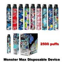 Original Monster Max Disposable E Cigarettes Device Kit 2500 Puffs Pod Vape Pen Authentic PK Bar Plus Dual