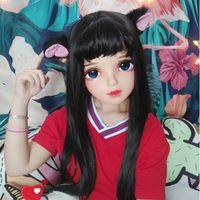 Party Masks (Miao-12)Female Sweet Girl Resin Half Head Kigurumi BJD Mask Cosplay Japanese Anime Role Lolita Crossdress Doll