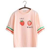 Веселая симпатичная клубника футболка для девочек Harajuku футболка женщин с коротким рукавом укарь хлопчатобумажная футболка полосатый мультфильм печатные топы Tee 210331