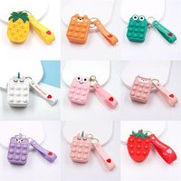 Silicone Coin Purse Storage Bag Its PoPs Push Bubble Kids Fidget Toy Coins Case Bags Keychain Gifts Pendant Adults Sensory Stress Relief Toys 5.5*3*6.5CM