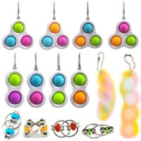 Gourd Push Bubble Fidget Toy Sensory key Chains Cartoon Dimple toys Keychain Two or three fingers Stress Reliever Funny Anti-stress Gift wholesale