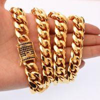 """7-40 """"15mm Mode Miami Curb Cuban Herren Halskette oder Armband Armreif Hip Hop 316L Edelstahl Gold Schmuck Schwarze Rehinestone Ketten"""