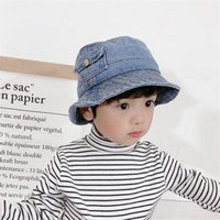 Free DHL Baby Kids Denim Cap with Pocket Sunhat Summer UV Protection Sunscreen Hat Foldable Bucket Fisherman Hats Lovely Cool Toddler Boys Girls Caps