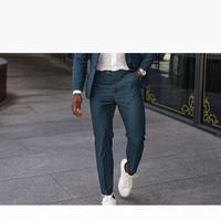 Mint Green Wedding Tuxedos 2021 Summer Slim Fit Notched Lapel Groomsmen Men's Suits Prom Party Graduation Suit Two Pieces (Jacket+Pants