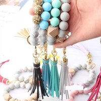 14 style Wood silica gel beaded bracelet keychain Loss prevention tassel key ring pendant pure multicolor optional DHF10322
