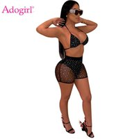 Adogirl Sheer Mesh Diamonds Night Club Two Piece Set Women Fashion Sexy Tankini Swimwear Bra Top + Summer Shorts Party Outfits Dress