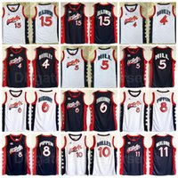 1996 США мечта три баскетбола Scottie Pippen Jersey 8 Charles Barkley 4 Penny Cartaway 6 Hakeem Olajuwon 15 Karl Malone 11 Grant Hill 5 Reggie Miller 10 Blue White