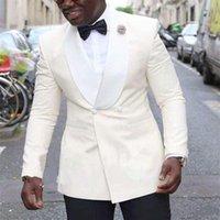 Men's Suits & Blazers Stunning Ivory Wedding Groomsmen Tuxedos Custom Made Men Party (Jacket+Pant+Tie)