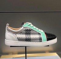 DiseñadoresLouboutinClcristianoLUXURYS Moda Marca de cuero con picos Zapatos de hombre Zapatillas de deporte de abajo para TXU