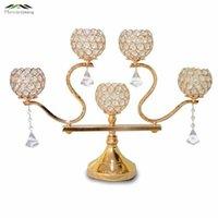 Titulares de vela 2 pçs / lote Ouro de metal / prata 5 braços com cristais 60cm Stand Castiçal para o casamento Pandavelas Candelabros