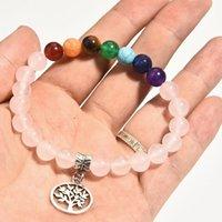 Bijoux à la main en gros à la main 7 chakra arbre de vie bracelet bracelet en cristal rose cristal vert aventurine amethyste bracelet femmes accessoires