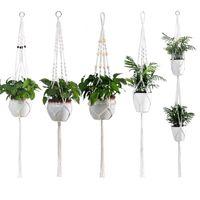 手作りマクレーム植物ハンガー屋内屋外吊りプランターバスケットジュートレトロフラワーポットロープホルダーストリングホームガーデンバルコニー装飾