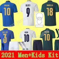 Italia 2021 Jersey de fútbol Inicio Alejado Jóvenes Jorginho El Shaarawy Bonucci Insigne Bernardeschi Jerseys 22 22 Hombres + Kit Kit Kit Camisetas de fútbol