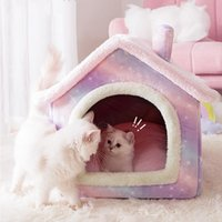 Cat Beds & Furniture Small Medium Dogs Pink Star House Fleece Grey Calming Bed With Roof And Door Fluff Pet Puppy Sofa Mat Dog Cushion Poodl